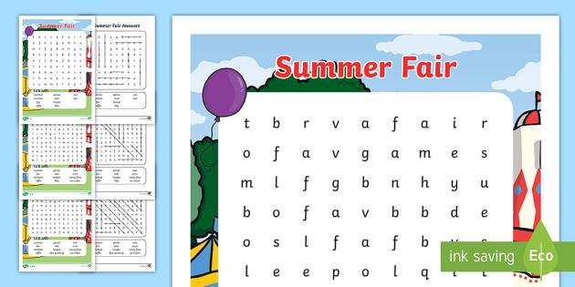 Summer Fair Wordsearch - summer, fair, wordsearch, search, word