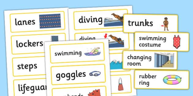 Swimming Pool Word Cards - swimming, pool, word cards, cards