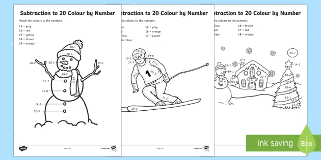 Winter Themed Subtraction to 20 Colour by Number Activity Sheet