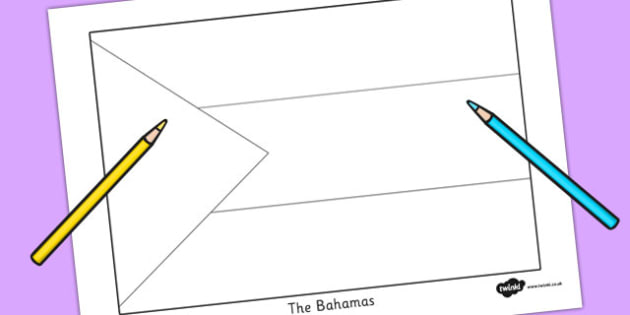 The Bahamas Flag Colouring Sheet - countries, geography, flags