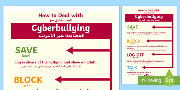 How to Deal With Cyberbullying Poster Arabic Translation - arabic, how, deal, cyberbullying, poster, display