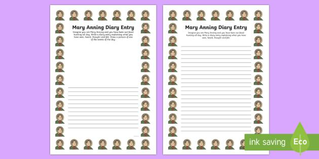 Mary Anning Diary Entry Activity Sheet - activity, mary anning, diary, worksheet
