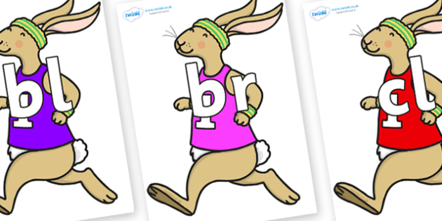 Initial Letter Blends on Running Hare - Initial Letters, initial letter, letter blend, letter blends, consonant, consonants, digraph, trigraph, literacy, alphabet, letters, foundation stage literacy