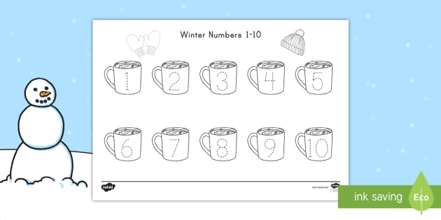 Us N 318 Winter Numbers 1 10 Tracing Activity Sheet on Pattern Worksheets For Second Grade