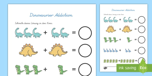 Dinosaurier Addition Arbeitsblatt - Dinosaurier, Addition
