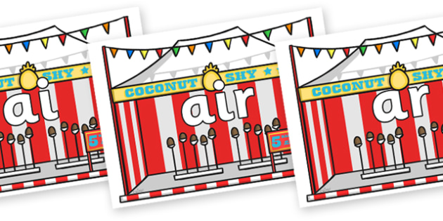 Phase 3 Phonemes on Fairground Coconut Stands - Phonemes, phoneme, Phase 3, Phase three, Foundation, Literacy, Letters and Sounds, DfES, display