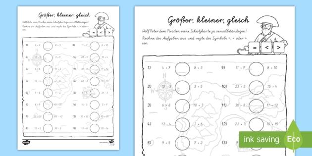 NEW * Größer, kleiner, gleich Arbeitsblatt - Mathe