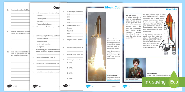 KS2 Eileen Collins Differentiated Reading Comprehension