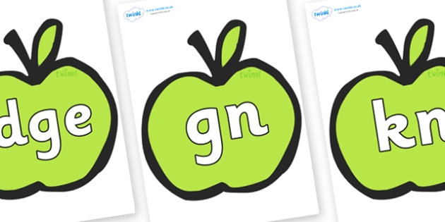 Silent Letters on Apples - Silent Letters, silent letter, letter blend, consonant, consonants, digraph, trigraph, A-Z letters, literacy, alphabet, letters, alternative sounds