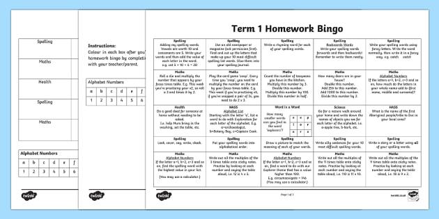 Homework Bingo Editable Worksheet / Worksheets-Australia - End of ...