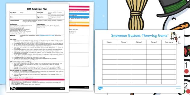 Snowman Buttons Throwing Game EYFS Adult Input Plan and Resource Pack - snowman, buttons, game, eyfs, adult input plan, pack