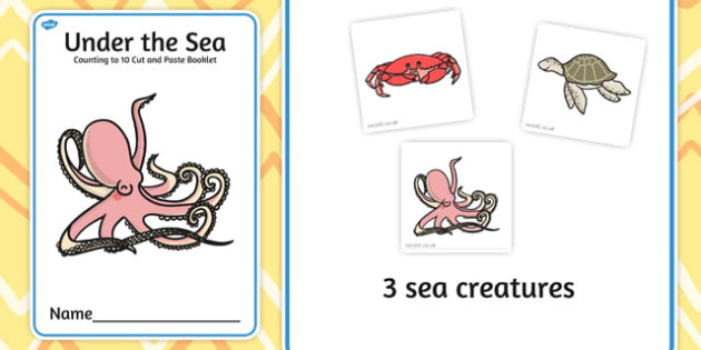 Under the Sea Counting to 10 Cut and Paste Booklet - cutting