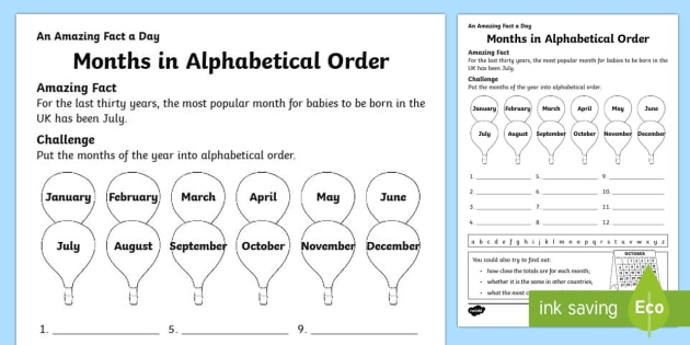 Months in Alphabetical Order Activity Sheet