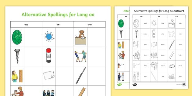 Alternative Spellings ew, u-e, ue Table Worksheet - sound