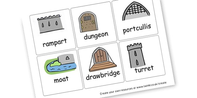 castle parts cards castles knights literacy primary. Black Bedroom Furniture Sets. Home Design Ideas