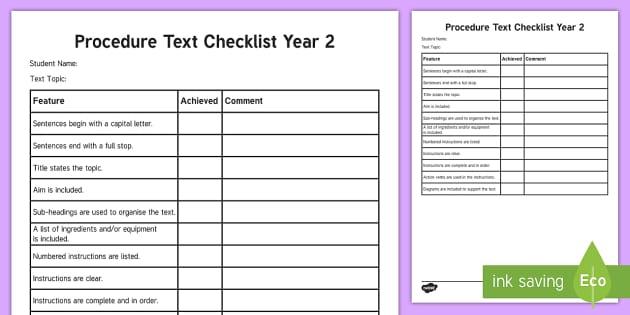 year 2 procedure checklist