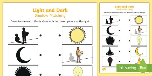 light and dark shadow matching worksheet light dark match. Black Bedroom Furniture Sets. Home Design Ideas