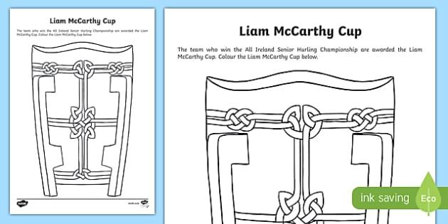 Liam Mccarthy Cup Colouring Worksheet Activity Sheet Irish