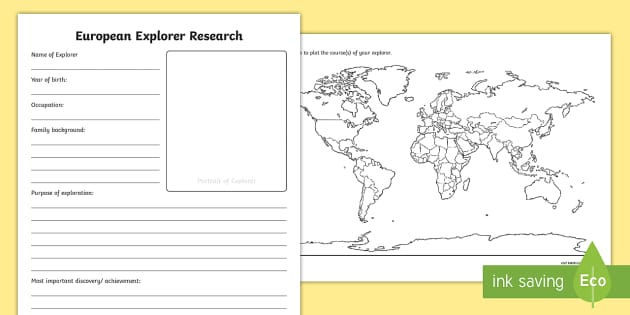 Early european explorers research worksheet activity sheets gumiabroncs Image collections
