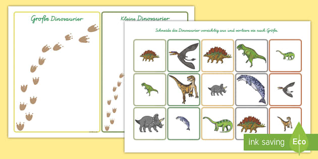 dinosaurier nach gr e ordnen arbeitsblatt german. Black Bedroom Furniture Sets. Home Design Ideas