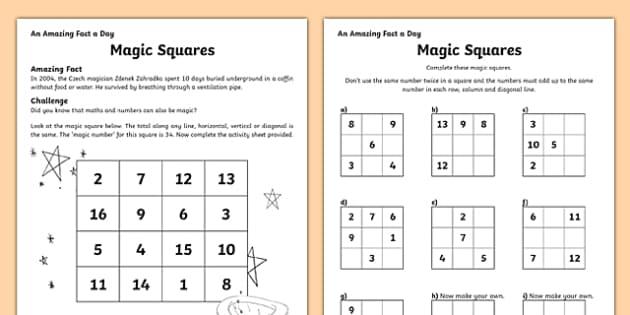 magic squares worksheet activity sheet worksheet. Black Bedroom Furniture Sets. Home Design Ideas