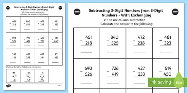3 Digit Column Subtraction - Year 3 Worksheet (teacher Made)