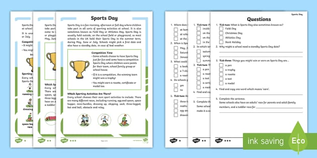 ks1 sports day differentiated reading comprehension activity. Black Bedroom Furniture Sets. Home Design Ideas