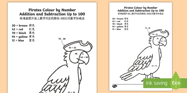 Pirates Addition And Subtraction Up To 100 Colour By Number