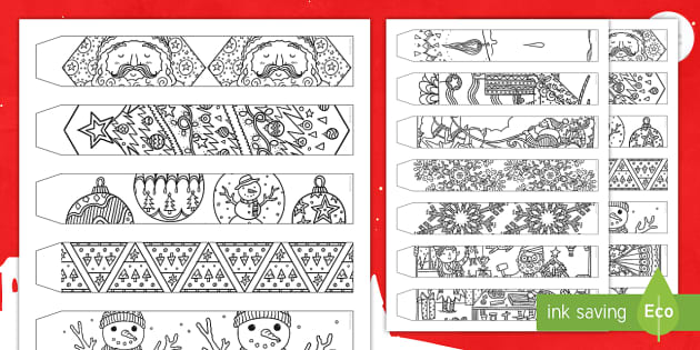 Christmas Chain Text.Christmas Mindfulness Colouring Paper Chain Christmas