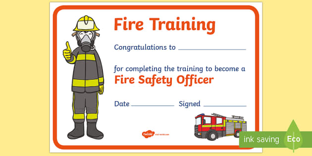 Fire Training Certificate - Fire Station Role Play Pack - Fire