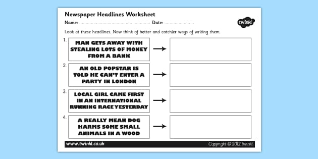 newspaper headline writing worksheet newspaper headlines newspaper. Black Bedroom Furniture Sets. Home Design Ideas