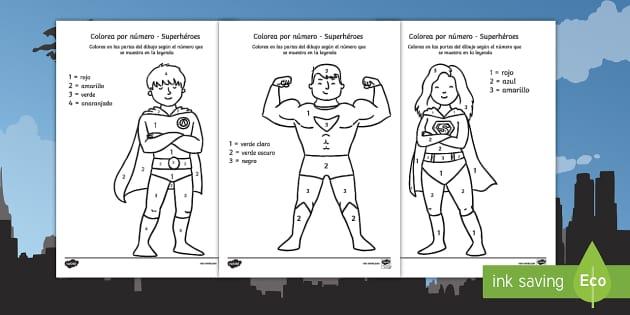 Colorear por número Superhéroes - Colorear por número
