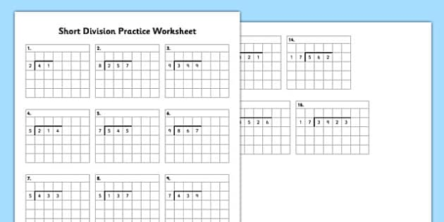 Short Division Practice Worksheet Short Division Practice
