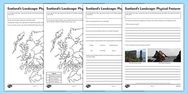 scotland 39 s landscape physical features worksheets scotlands. Black Bedroom Furniture Sets. Home Design Ideas