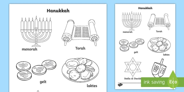 Hanukkah Illustrazioni Con Vocaboli Da Colorare
