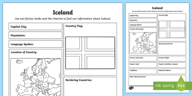 Iceland Fact File Writing Template 1st 2nd Class Sese