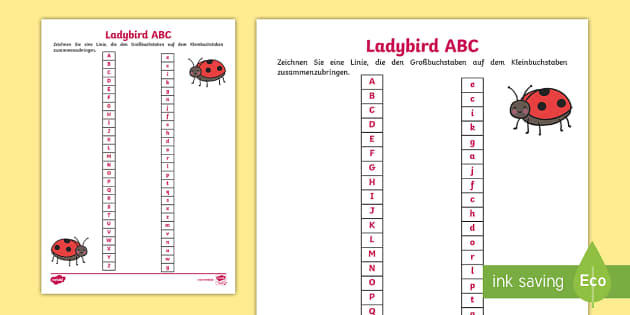 Marienkäfer ABC Arbeitsblatt - Kindergarten und Vorschule