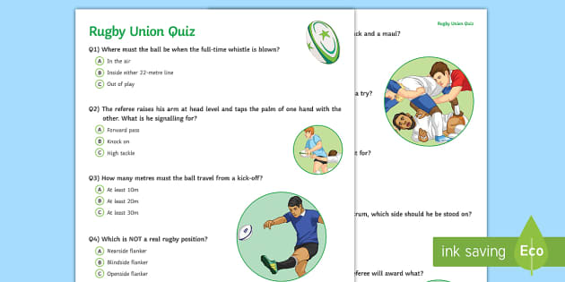 Rugby Union Student Quiz Pack Teacher Made
