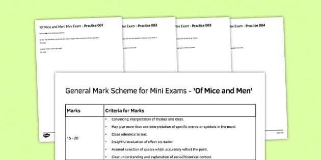 GCSE Of Mice And Men Mini Exams Pack Of Mice And Men Mini
