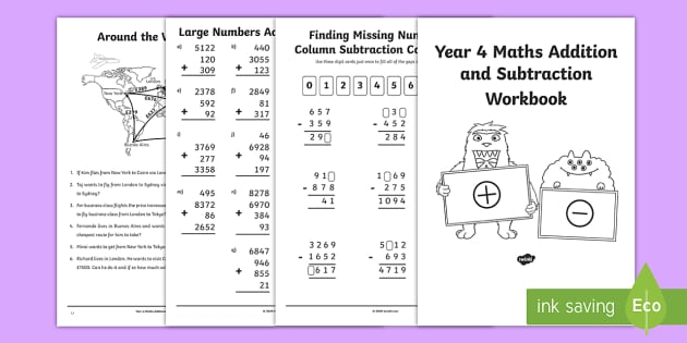 Maths Sums Workbook PDF - Printable Year 4 Maths Worksheets