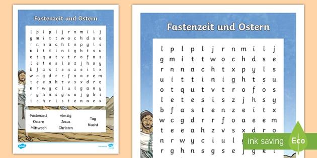 Fastenzeit und Ostern Buchstabengitter - Osterfest, fasten