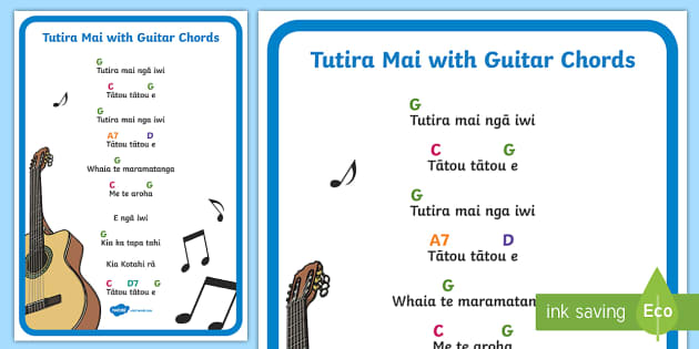 Tutira Mai Song With Guitar Chords A4 Display Poster