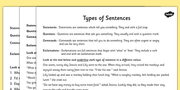 types of sentences differentiated activity worksheet esl. Black Bedroom Furniture Sets. Home Design Ideas