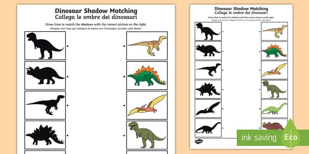 dinosaur shadow matching worksheet activity sheet. Black Bedroom Furniture Sets. Home Design Ideas