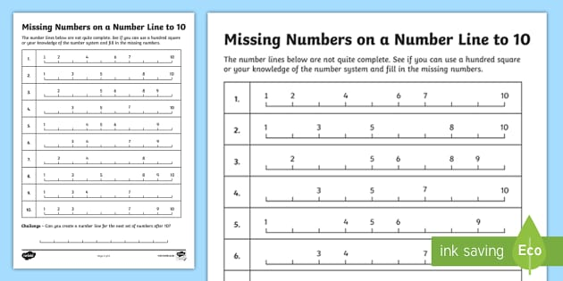 Filling In the Missing Numbers on a Number Line to 10 Worksheet ...