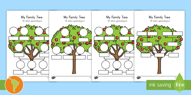 my family tree worksheet worksheets english spanish my family tree. Black Bedroom Furniture Sets. Home Design Ideas