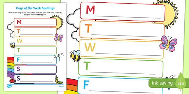days of the week spelling worksheet worksheet days of the week spelling. Black Bedroom Furniture Sets. Home Design Ideas