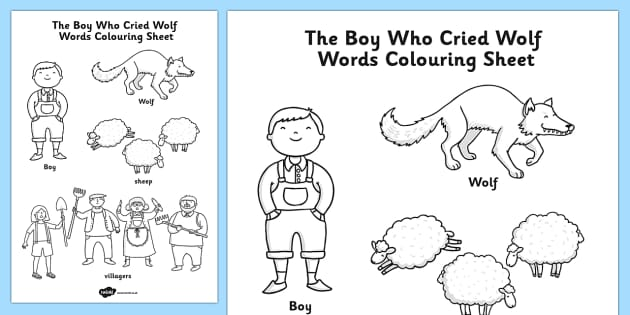 The Boy Who Cried Wolf Words Colouring Sheet