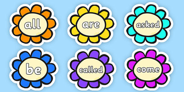 tricky words on multicoloured flowers