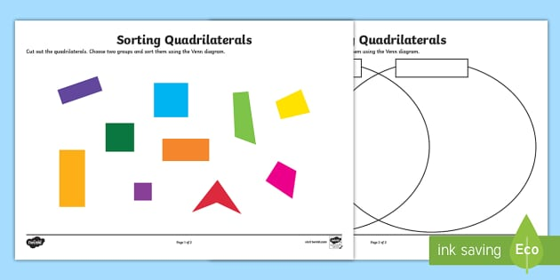 Sorting quadrilaterals worksheet activity sheet sorting ccuart Choice Image
